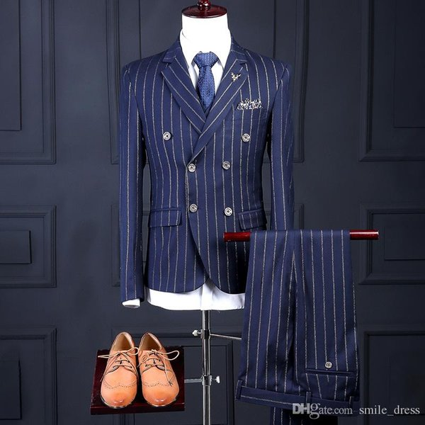 Dark Blue Mens Suits 3 Pieces Groom Wear Tuxedos Formal Business Wedding Suits For Men (Jacket+Pants+Vest) SG002