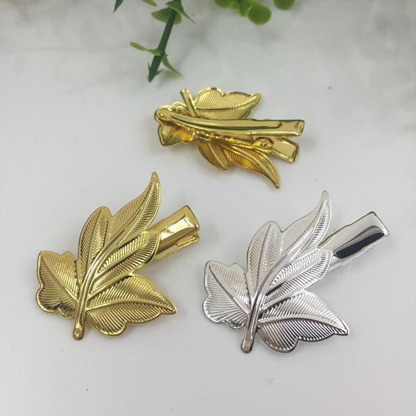 20pcs Maple leaf French barrettes Alligator clips hairpin setting rose gold silver hairclip antique bronze hair clip pin hairwear jewelry