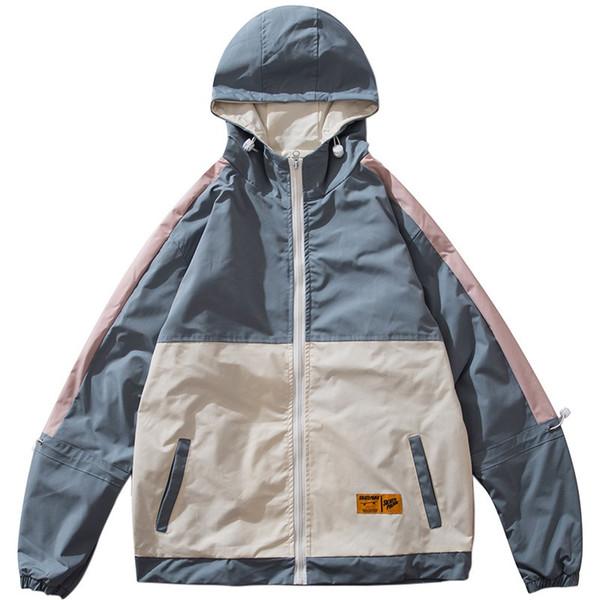 Hommes Hip Hop Veste Streetwear Rétro Vintage Couleur Bloc Veste À Capuche Coupe-Vent Harajuku 2019 Vestes Survêtement Manteau À Capuche Automne