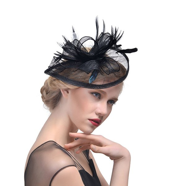 New Arrival Feather Net Wedding Bridal Fascinator Hats For Evening Prom Party Wear Accessories Masquerade Head Wears Cheap CPA1995