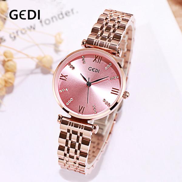 GEDI Thin Dial Frauen Uhr Marke Luxus Top Legierung Quarz Weibliche Uhr Lässige Dame Armbanduhr Wasserdicht Uhren für Frauen