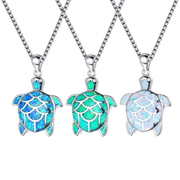 Mode Grün Weiß Blau Imitation Opal Sea Turtle Anhänger Halskette Für Frauen Weibliche Tier Hochzeit Ozean Strand Schmuck Geschenk