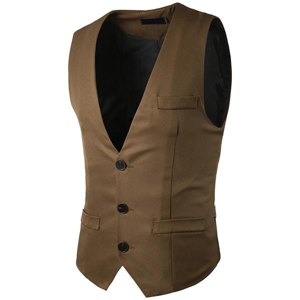 Men Vest 2017 Brand Male Waistcoat England Slim Fit Wedding Business Men Suit Vest Solid Color Groom Groomsmen Singer Clothes