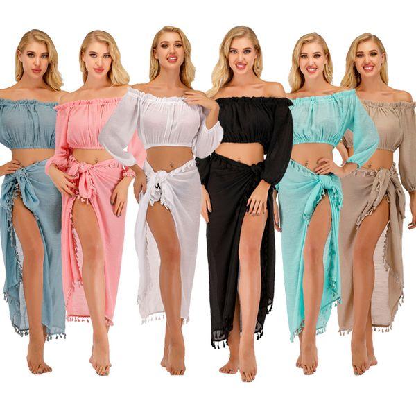 best selling 2020 Beach Cover- Ups Set Crop Top+ Dress 2pcs Set Beach Dresses Swimsuit Sun Protection Cover Up