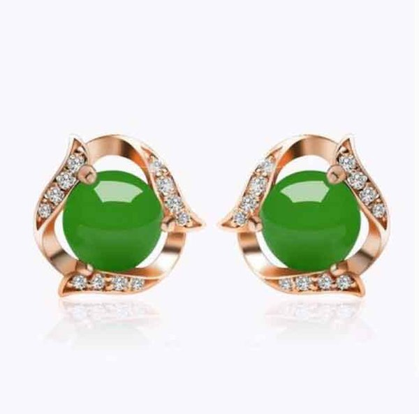 Designer Natural emerald chalcedony Green Agate Earrings national style jewelry
