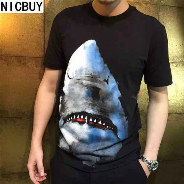 2017 high-quality brand tag clothing men's short sleeve 3D animal shark print funny t shirt top women's Camisa ina designer t shirt