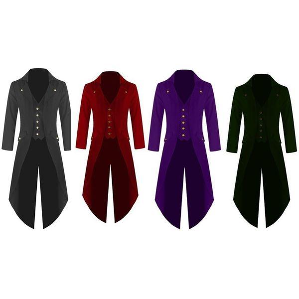 Capa larga de los hombres Color sólido Moda Steampunk Vintage victoriano gótico Tailcoat chaqueta uniforme