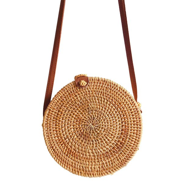 a31ff7c33488 Circle Handwoven Bali Round Retro Rattan Straw Beach Bag Crossbody Travel  play shoulder bags drop shipping