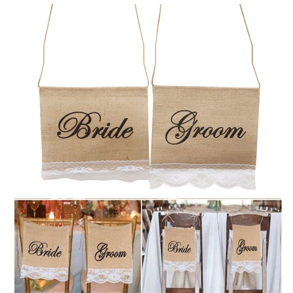 5pairs /lot Groom Bride Burlap Lace Chair Signs Banner Rustic Wedding Jute Hessian Banner Garland Decoration Photography Props DIY Materials