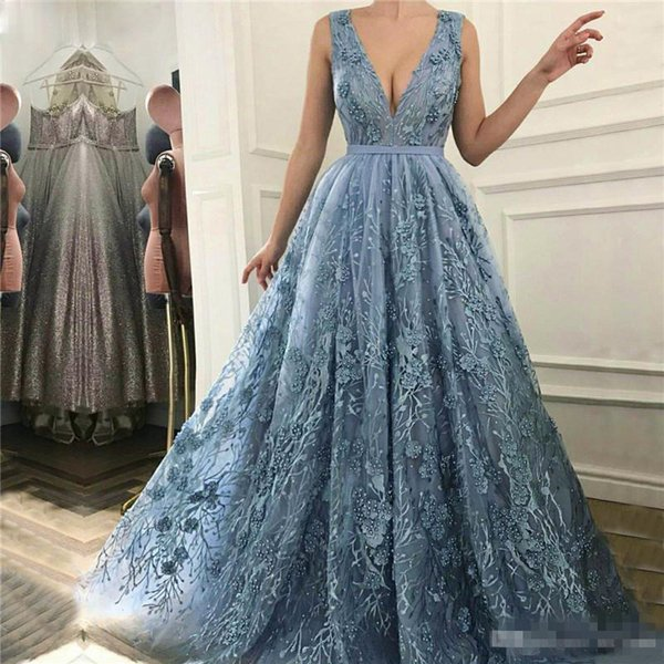Sexy V Neck A Line Formal Evening Dresses For Arabic Women Ice Blue Lace With Pearls Plus Size Backless Prom Party Gowns Abendkleider