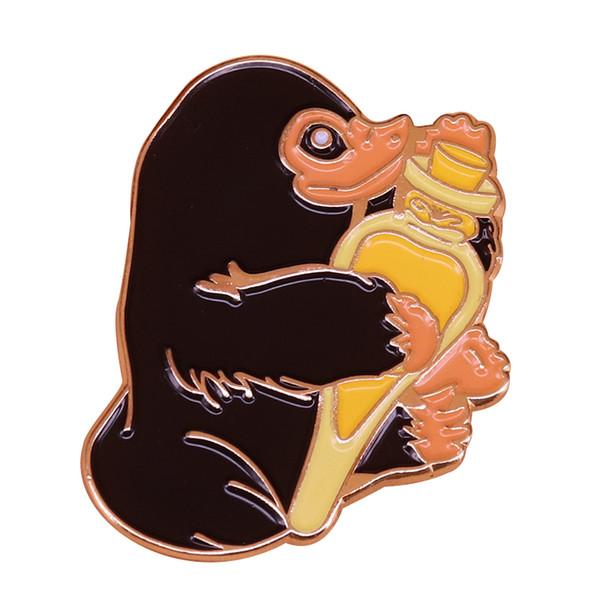 Niffler hugs felix felicis pin powerful magic liquid luck potion badge perfect Potter fans collection gift