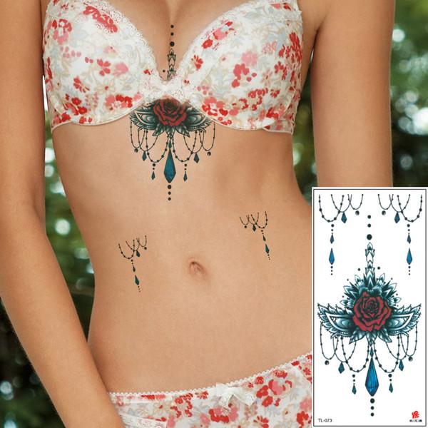 Sexy Frauen Chest Sternum temporäre Tätowierung Designs Rosen-Blumen-Schmuck Halskette Tattoos Sticker wasserdicht für Körper zurück Taille TL-073