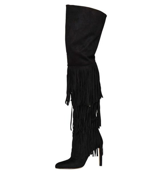New Black Tassel Women Long Boots Fashion Pointed Toe High Heel Boots Gladiator Fringe Over The Knee Thigh High Free Ship