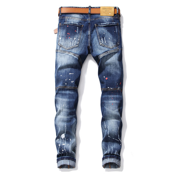 Mens designer d2 jeans classic blue casual hollow jeans fashion street men biker jeans personality luxury pants new free shipping 28-38