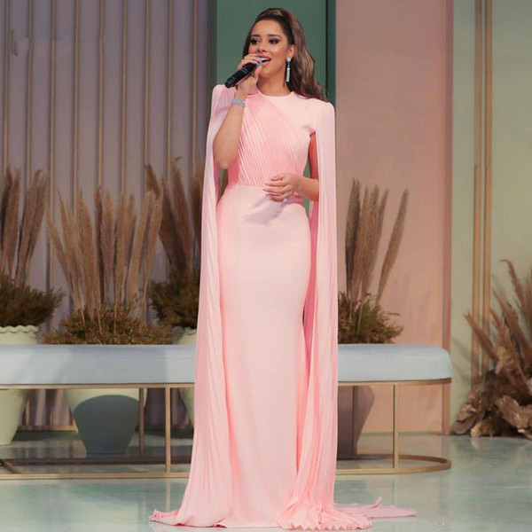 Blush Pink Long Chiffon Celebrity Evening Dresses With Caftan Abiye Elegant Prom Gowns Abendkleider Formal Dress