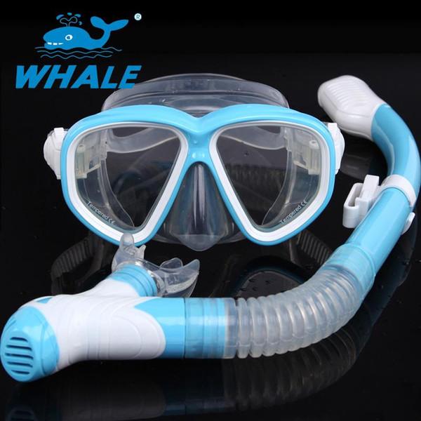 Al por mayor-Ballena Snorkel y máscara de buceo Gafas protectoras de buceo Tubo respiratorio Gafas de snorkel Máscara Set MSK-500-900
