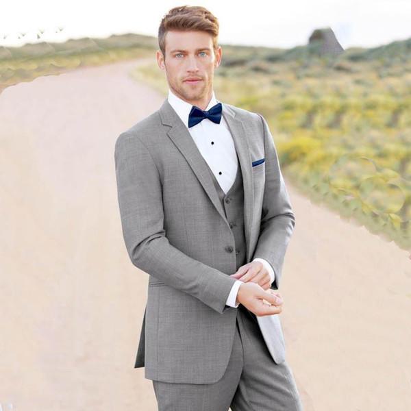 Gris Tuxedos Hommes smoking de mariage Notch revers revers veste veste Blazer hommes populaires bal / dîner costume 3 pièces (veste + pantalon + gilet + cravate) 274