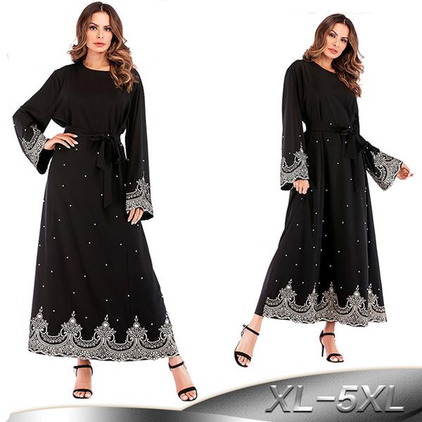 2019 Pearls Kaftan Abaya Dubai Turkish Islamic Muslim Hijab Dress Abayas For Women Qatar UAE Oman Jilbab Robe Caftan Clothing