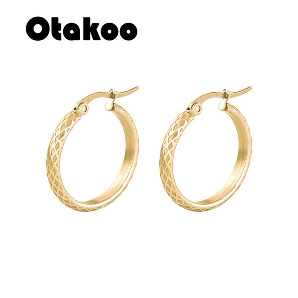 otakoo new fashion jewelry hoop earring sliver gold color irregular geometric circles earring for women girl party birthday gift