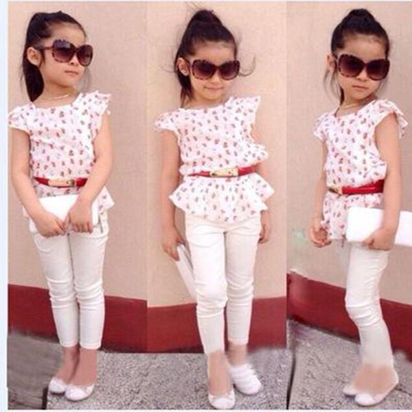 Meninas do verão conjunto de roupas crianças meninas Europa e América impresso algodão camiseta + calças de cottton + cinto de 3 peças conjuntos de roupas