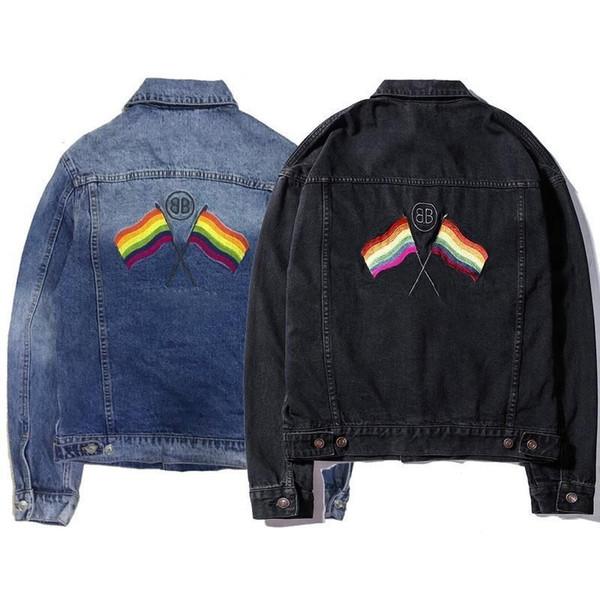 18fw Bb Rainbow Flag Heavy Work Wash Denim Jacket Men And Women High Quality Fashion Black And Blue Jacket Hfbyjk171