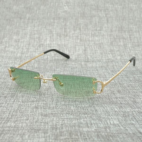 Küçük Kare Çerçevesiz Güneş Erkekler Güneş Gözlükleri Çerçeve Açık Renk Tonu Dekorasyon Renkli Seçim için Renk Gözlükler Gözlük Shades 827