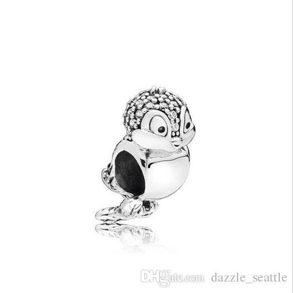 Atacado 30 pcs Noite Coruja Cristal Charme Sterling Silver Encantos Europeus Bead Grande Buraco Fit Pandora Pulseiras Cobra Cadeia de Moda DIY Jóias