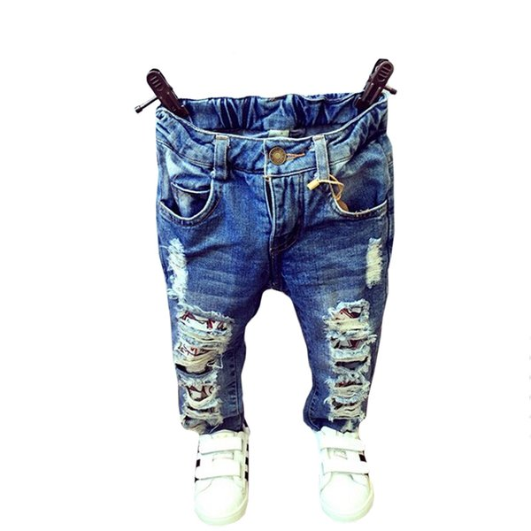 Baby Boys Girls Broken Hole Pants Trousers 2019 Fashion Jeans Boy Girl Denim Pants Casual Ripped Jeans Children Clothing Casual Ripped Jeans Children Clothing