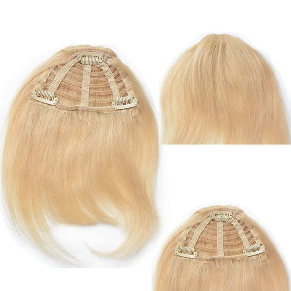 Remy Blond Peruvian Hair Bangs Natural Straight Virgin Human Hair Piece Products with Clips in Accessories Short Black Color