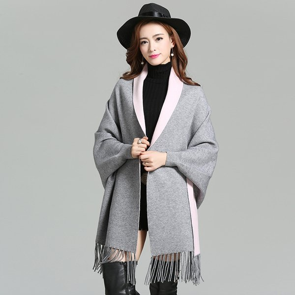 Nuevas mujeres elegantes Socialite Cashmere Tassel Cardigan Sweaters Batwing Sleeves Scarf Cape Outwear Good Quality