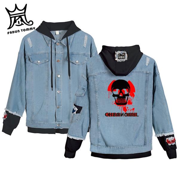 FRDUN Чернобыль Поддельные из двух частей Джинсовая Куртка Женщины Карманы С Длинным Рукавом Куртки С Капюшоном Горячей Продажи Повседневная Уличная Одежда