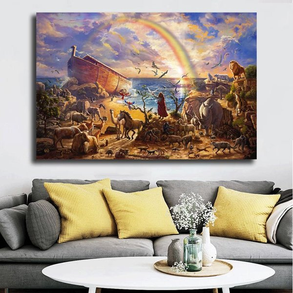 Thomas Kinkade Sea Animals Rainbow Scenery HD Canvas Posters Prints Wall Art Painting Decorative Picture Modern Home Decoration Accessories