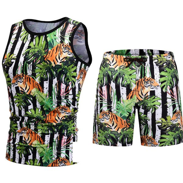 Summer Short Sets Men Casual 3d Beach Coconut Island Tiger Flamingo Diomend Printing Suits For Men Suit Sets T Shirt +Pants