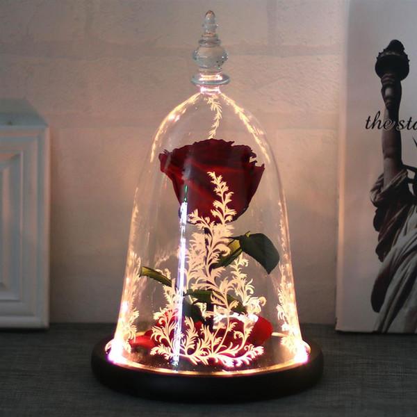 Presente do Dia dos namorados Artificial Rosa Vermelha E Levou Luz Simulação Decoração Flor Pétalas Caídas Em Cúpula De Vidro Para O Casamento Dos Amantes