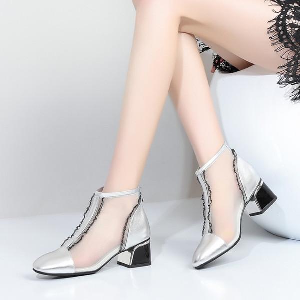2019 echtes leder aushöhlen frauen mesh stiefel sommer frau coole stiefel high heels spitze mode atmungsaktive weibliche booties