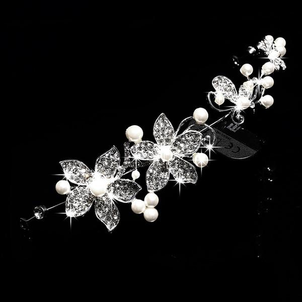 Fashion Hair Jewelry Bride Alloy Diamond Pearl Headwear Korean Edition Hair Jewelry Wedding Garment Headdress Flower Accessories Wholesale