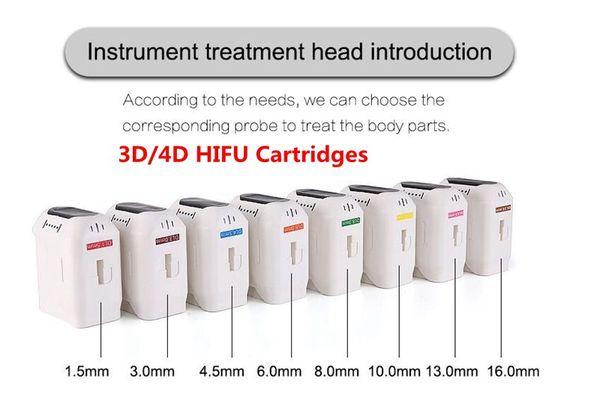 3D 4D HIFU Cartouches 20000 Tirs de haute intensité ultrasons focalisés HIFU machine visage de levage Suppression des rides Amincissant