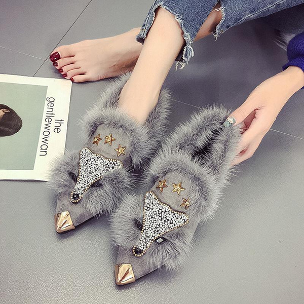 spring and autumn fur women flat shoes new flat pointed toe female winter shoes single with fleet and pork, Black