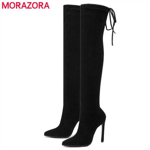 MORAZORA 2020 New Stretch Fabric women boots top quality over the knee boots stiletto high heels autumn winter thigh high