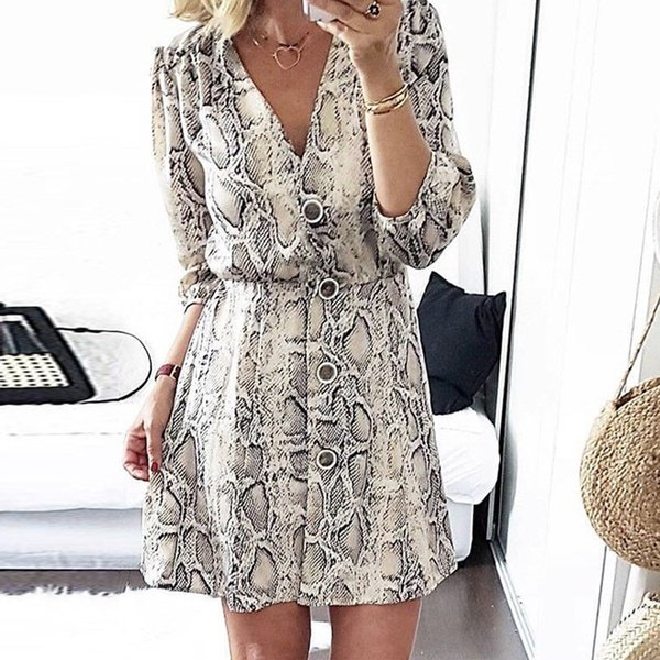 Deruilady 2018 Femmes Sexy Col En V Bouton Longue Seleeve Serpentine Imprimer Mini Robe Automne Hiver Casual Streetwear A-ligne Robes J190509
