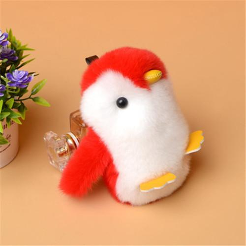 Large Soft Real Rabbit/Rex Fur Penguin Doll Toy Kid Gift Pompom Ball Bag Charm Key Chain Keyring Accessories