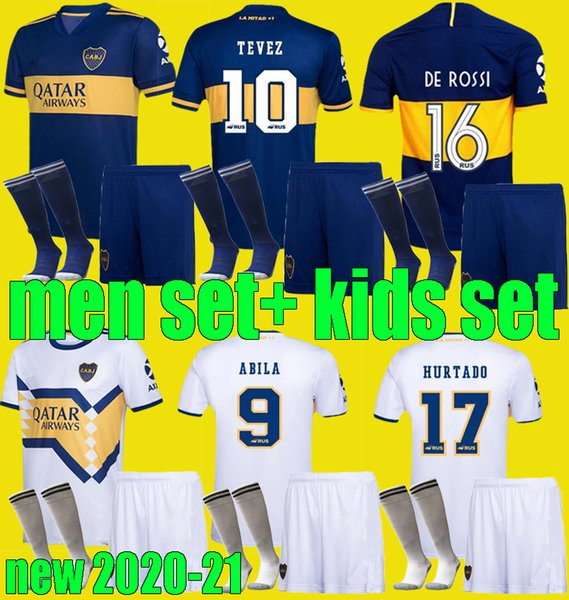 best selling 20 21 Adult kids Boca Juniors soccer Jerseys sets PAVON DE ROSSI 2020 2021 MARADONA TEVEZ men child football kits shirt Full uniform
