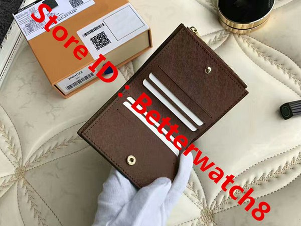For Brown Famous Women Men Brand Leather Kimono Clutch Coin Short Hasp wallets 2@5 purse card holder with Box bags Free Shipping