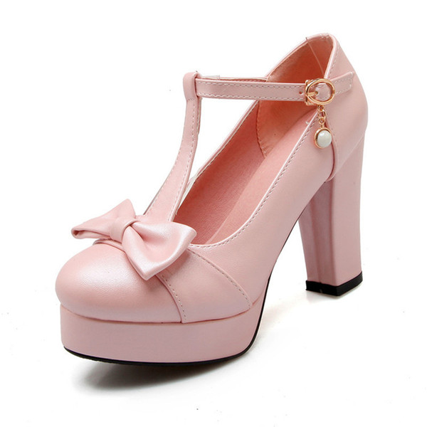Elegant Sweet Girls Lolita Mary Janes High heels Shoes T-Strap Bowtie Party Dress Shoes For Woman Round Toe Pumps