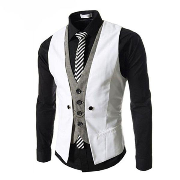Fashion Sleeveless Jacket Waistcoat Men Suit Vest Male British Style Slim Cotton Single breasted Vintage Vests