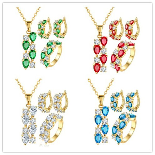4 Colors Crystal Jewelry Sets For Women Red/Green/Blue/White CZ Zircon Jewellery Yellow Gold Color Bridal Wedding Jewelry Sets