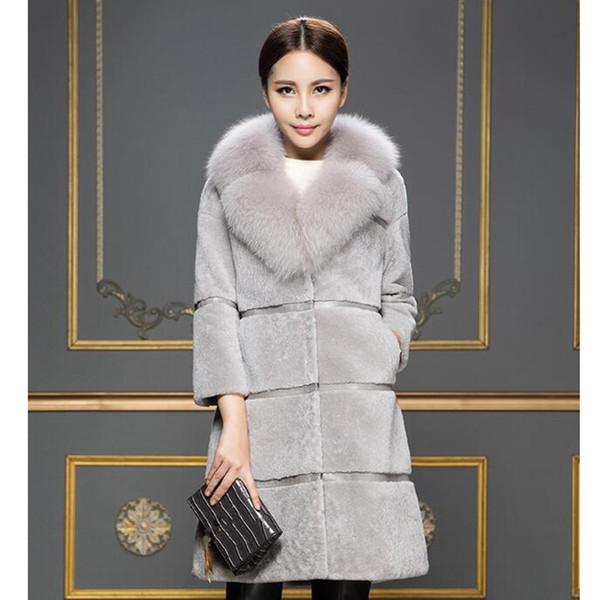 2019 New Sheep Shearing Winter Clothing Women Coat Stitching Medium Length Coats Imitation Fur Collar Imitation Fur Coat