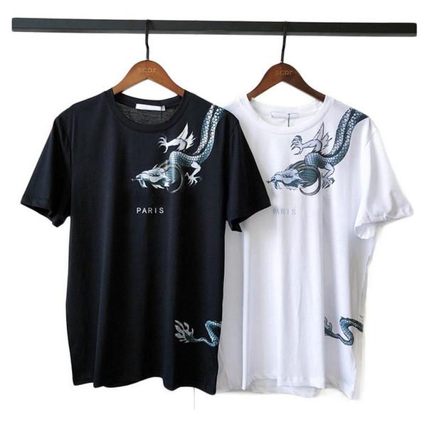 nicbuy / 2019 primavera verão melhor qualidade Designer De Luxo Europa paris Tshirt Moda Mens dragão carta impressão T Camisa Roupas Casuais Tee tops t-shi