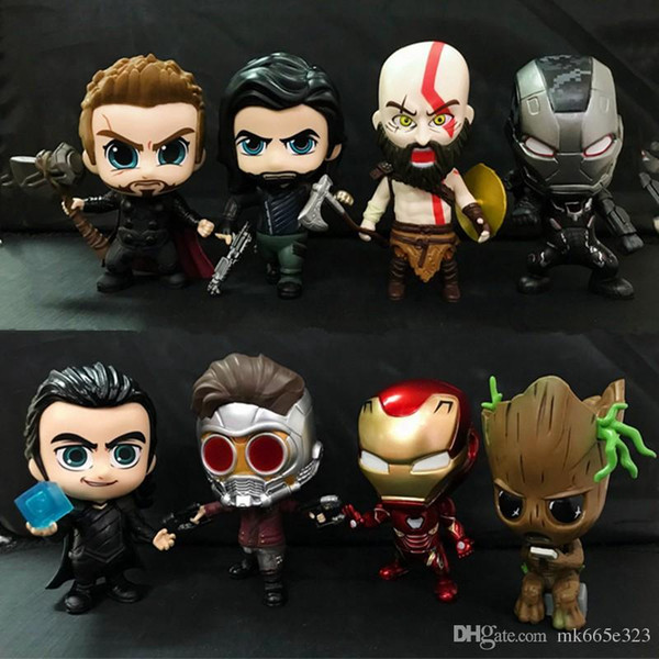 The Avengers Action Figures PVC Kids Collectable Model Cartoon Hero Iron Man Thor Star-Lord Groot Kratos Toys for Children