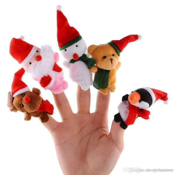 Wholesale-5pcs/lot Christmas Hand Finger Puppets Cloth Doll Santa Claus Snowman Toy Baby Educational*Finger Puppets